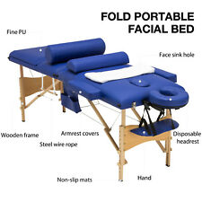 "3 Fold 84""L Portable Facial Spa Bed Massage Table Sheet+2 Bolsters+Cradle+Hanger"