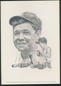 BABE RUTH 1980 REPRODUCTION OF 1961 ROBERT RIGER DRAWINGS/ LITHOGRAPH