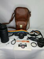 Vintage Pentax MUE Super 35MM Film Camera W/ Brown Leather Case and Lens Bundle