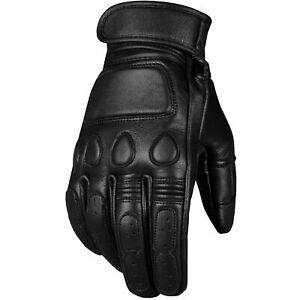 Men's Vintage Goatskin Leather Motorcycle Gloves Gel Padded Cruiser Street