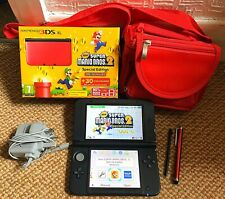Nintendo 3DS XL: Red/Black Special Edition Console with Super Mario Bros 2 Game