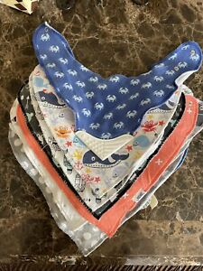 Lot of 18 Nautical Animals and shades of gray Boy bibs with Snaps