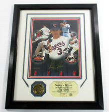 Nolan Ryan Signed Display HOF Photo Coin Highland Mint Framed Auto DF024985
