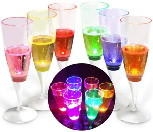 6 Pack LED Wine Glasses Champagne Flutes Light Up Glasses LED Liquid Activated