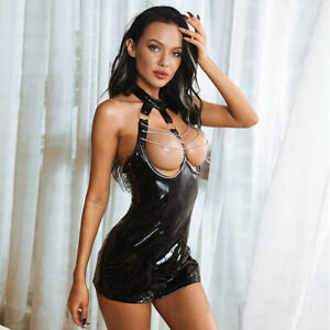 Obsessive Chains Faux Leather Zip Backless Erotic  Halter Dress Mini Skirt D2173