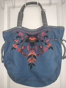 Lucky Brand Embroidered Floral Blue Canvas Boho Tote Shoulder Bucket Bag Denim