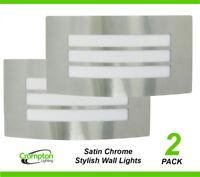 2 x Large Satin Chrome Bunker Wall Lights Rectangular w Grille Outdoor Exterior