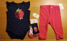 GYMBOREE Baby Girls 3 Pc Set: Legging, Top & Socks Outfit 3-6 M Strawberry🍓 NEW
