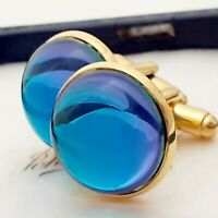 Fabulous Changing Colour Purple Blue Glass - Large Round Goldtone Cufflinks