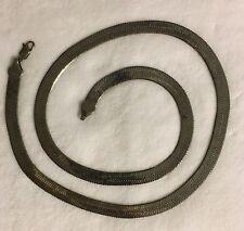 "Sterling Silver Vintage 925 Heavy Wide Herringbone Necklace 30"" (59.2 gm)"