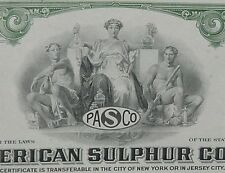 Pan American Sulpher Co. 100 Shares 1960's Cancelled Stock Certificate Green