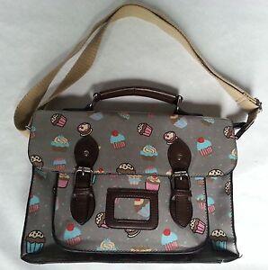 Messenger Satchel style handbag with cupcake design perfect condition