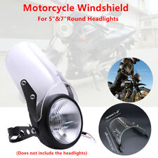 "1x Motorcycle Bikes Windshield Windscreen Universal Fit 5"" & 7"" Round Headlights"