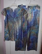 NWT Womens Oscar De La Renta Celestial Nights 2-Piece Leopard Print Pajama XL