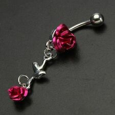 Button Ring Navel Ring Body Piercing Red Rose Rhinestone Stainless Steel Belly