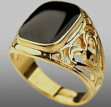 Yellow Gold Plated Black Onyx Pattern Mens Ring Boy Signet Pinky Band (K to Z+2)