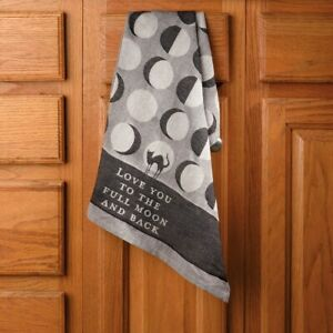 Love You All The Way To The Moon  Halloween Black Cat Jacquard Dish Towel