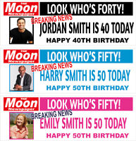 2 personalised birthday banner photo newspaper adults party poster decoration