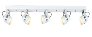 Modern 5 Way Straight Bar Ceiling Spotlight Fitting in a Gloss White Finish