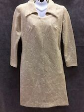 Vtg Lady Laura Mod Dress Sz 12 (6) Groovy 70s Abstract Metallic Thread Toni Todd