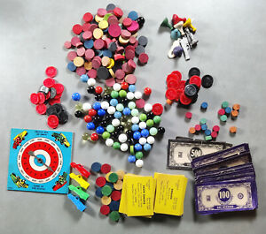 Junk Drawer Lot of Vintage Game Pieces – Clue States Checkers and More
