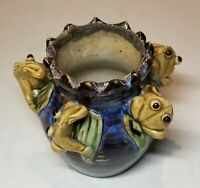 One of a kind 5 Majolic Happy Stoneware Frogs 4x4 Vase/Planter/Succulents Hnd Md