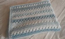 "HANDMADE CROCHET BABY BLANKET-IN BLUE AND WHITE-27"" X 42""-NEW"
