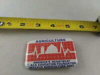 Vintage Agriculture America's Heartbeat Farming pin pinback button *A