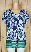 ST JOHNS BAY Womens Plus Size 2X Short Sleeve Shirt Floral Print Rayon Top NWT
