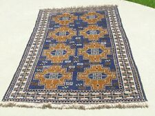 "Vintage Afghan Baluchi Rug Carpet 45""x79"" Geometrical Cross Tile Design"