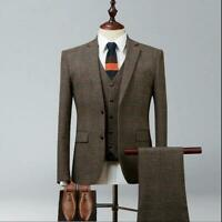 Brown Plaid Men Tweed Suit Vintage Groom Tuxedo Wedding Suit Party Prom Suit
