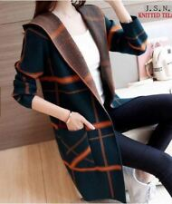 LADIES LONG CARDIGAN KNITTED (BLACK ORANGE)