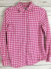 Vineyard Vines Becket Pink Gingham Button Front Flannel Shirt Women's Sz 0