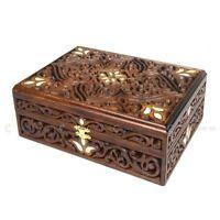 Real Beech Wood Engraved Box 24x18x9 cm Wooden Jewellery Trinket Box Medium Size