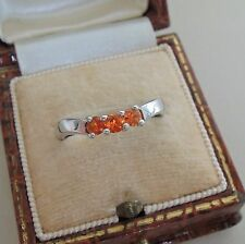 9ct White Gold Orange Sapphire Stacking Ring