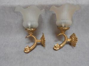 Pair of French Antique bronze WALL Light SCONCES / zoomorphic