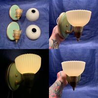 Pair Of Mid century slip shade sconces Antique Green Finish Brass Art Deco 51F