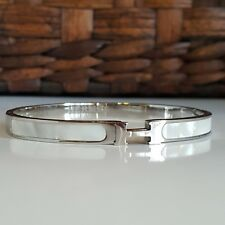 18K White Gold Mother Of Pearl Inlay Bangle Bracelet Luxury H Design