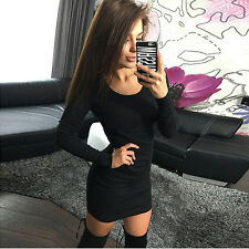 Womens Ladies Long Sleeve Bodycon Clubwear Party Slim Short Mini Pencil Dress UK