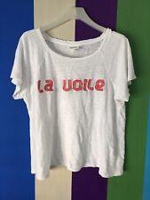 Seed Womens Blouse XS White Red Linen T-shirt top Dress Tee Shirt Short sleeve