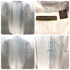 Cubavera Mens M White Shirt Music Instruments Rockabilly Embroidered Cuban  Bn5