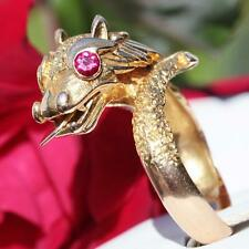 1900's antique 14k yellow gold ring 0.30ct ruby dragon sz 8 handmade 8.3g N2709A
