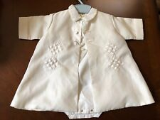 VTG Madonna Creations White 3pc Christening Outfit Baby Boy 3-6 mos blue hanger