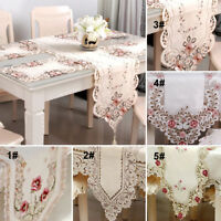 Modern Table Runner Embroidered Floral Lace Fabric Translucent Gauze Table Cloth