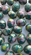 400+ Vintage Cloisonne 9x7 Oval Eggs—Green with Pink & Lt. Green Floral Accent