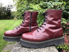 Dr Martens Jadon Aggy Cherry Red Leather  Double Chunky Sole Boots UK 12 EU 47