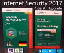 Kaspersky Internet Security 2017 Upgrade 1 Gerät Box + Handbuch (PDF) OVP NEU