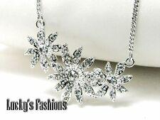 Flower Floral Bouquet Clear Crystal Pendant Necklace
