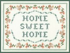 'Home Sweet Home' - complete cross stitch kit with shimmering beads on 14 aida