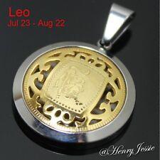 MEN WOMEN Stainless Steel Gold Silver LEO Zodiac Horoscope Charm Pendant*P41